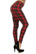 Winter Leggings Plaid Check Tartan Print Fleece Warm Lined Stretchy Red Black