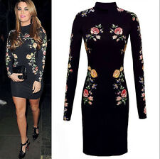 New Fashion Women Celeb Floral Bodycon Long Sleeve Dress Club Party Outfit YH-2