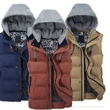 2014 Men Sleeveless Cotton Jacket Coat Winter Mens Hooded Vest Waistcoat Outwear