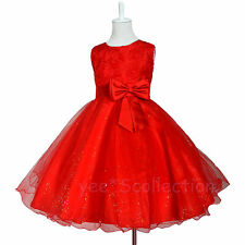 SALE! Red Rose Tulle Flower Girls Wedding Pageant Party Formal Dress Age 2T - 8y