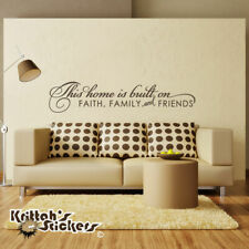 This Home Is Built On Faith, Family, and Friends Vinyl Wall Decal Quote art L122