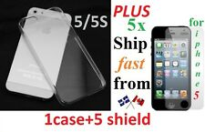 1 iphone 5 5s ULTRA Crystal Clear case transparent HARD Plastic Snap Back Etui