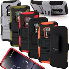 Double Layer Hybrid Holster Belt Clip Stand Hard Cover Case For LG G Flex Phone