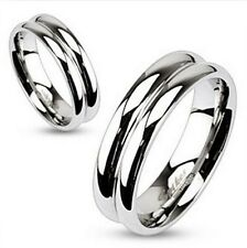 316L Stainless steel  Double Dome Mirror Polished Band Ring 6mm wide size 5 - 13