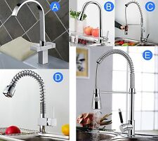 Swivel Spout Chrome Kitchen Pull Out Faucet Dual Sprayer Vessel Sink Mixer Tap