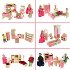New Pink Wooden Furniture Dolls House Miniature 6 Room Set For Kids Children Toy
