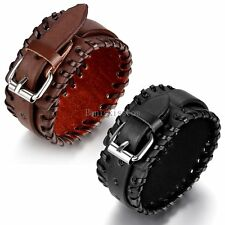 Punk Rock Leather Handcrafted Wide Belt Men's Bracelet Gifts Black / Brown Color