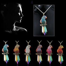Beautiful Colorful Crystal Parrot Pendant Necklace Sweater Chain Wedding Bride