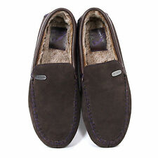 Ted Baker Men's Ruffas Suede / Faux Fur Lined Moccasin Slipper Brown