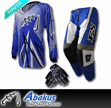 YOUTH MX MOTOCROSS JERSEY+PANTS+GLOVES*BLUE*Dirt Bike Gear/BMX/Off-road/Junior