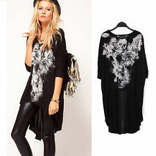 New Casual Women's Skull Heads Print Lace T-shirt Batwing Loose Tops Blouse RT