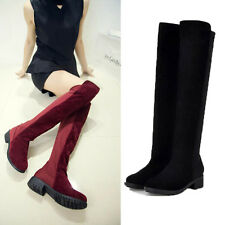 Vogue Lady Over Knee Thigh High Riding Boots Stretch Low Heel Autumn boots Shoes