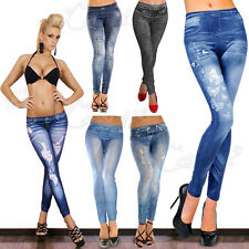 WOMENS SEXY SKINNY LEGGINGS JEANS JEGGINGS STRETCHY PANTS DENIM LOOK SIZE 6-12