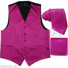 New Men's Fuchsia XS - 6XL Tuxedo Suit Dress Vest Waistcoat & Neck tie And Hanky