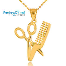 Gold Scissor and Comb Pendant Necklace Barber Shop Hair Salon Charm