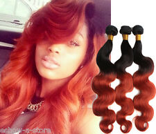 "3PCS Brazilian Ombre Hair Extensions1b/350# Human Hair Weave Body Wave 10""-30"""