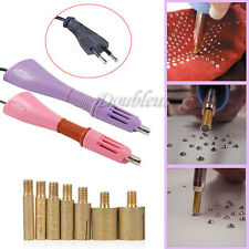 Iron on Hotfix Applicator Wand Heat Gun Rhinestones Gem Crystal EU Plug + 7 Tips