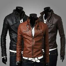 #gib Men Stand Collar Slim Fit Casual Leather Jacket Motorcycle Short Coat