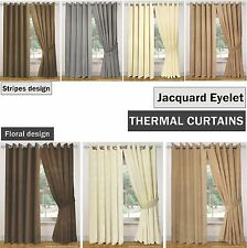 Thermal Coated LIGHT REDUCING Jacquard EYELET Curtains, Floral or Stripes Design