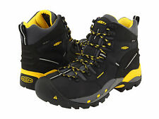 Keen Utility Mens PITTSBURGH Black/Yellow Leather Steel Toe Work Boots 1007023