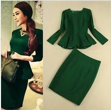 2014 fashion new style GREEN OL suit long sleeve top and slim one step skirt