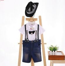 New Comedy Gentleman Outfits set Hat T-shirt Straps Jeans Pants 3pcs Baby Boys