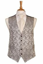 MENS BOYS SILVER PAISLEY WEDDING DRESS SUIT WAISTCOAT IDEAL CHRISTMAS PRESENT