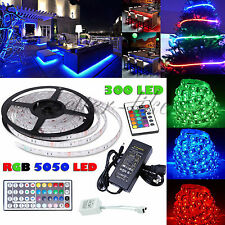 5M 5050 RGB 300 SMD Flexible LED Strip Light 44key Remote 12V 5A Power Supply