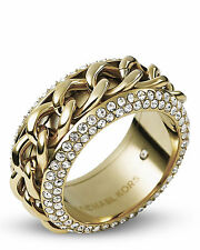 NWT Michael Kors Gold Tone Clear Pave Frozen Curb Chain Ring size 7 or 8