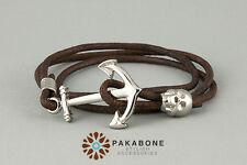 Wristband surfer mens leather bracelet with a Anchor & Skull 367