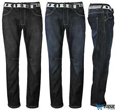 NEW MENS BRANDED JEANS REGULAR FIT STRAIGHT LEG BELTED DENIM ON CLEARANCE
