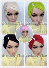 New Mercerized Cotton Rhinestone Muslim Inner Hijab Caps Islamic Underscarf Hats