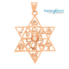 Star of David with Twelve Tribes of Israel Rose Gold Pendant