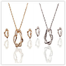 18k Gold Plated Women Austrian Crystal Circle Necklace Jewelry Sets In 2 Colors