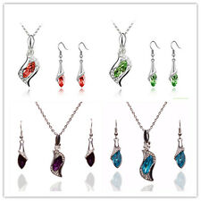 Vogue Women 18k Gold Plated Austrian Crystal Earrings Necklace Sets In 5 Color