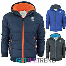 Mens Crosshatch Puffer Jacket Casual Padded Winter Puffa Bubble Jacket Coat