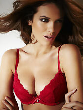 Ann Summers Womens Pure Lace Padded Plunge Bra Red Sexy Underwear Lingerie New