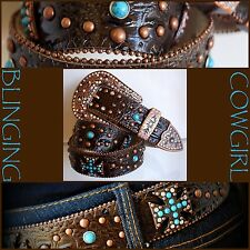 Ladies Western Leather Belt - Turquoise Cross Concho Bronze Buckle  S-M-L-XL