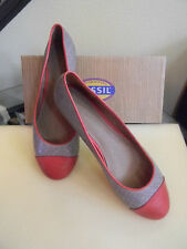 NEW Fossil Woman's Merrill Cap Toe Flat Leather Shoes Gray & Red Size 10