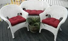 Choose Solid Colors ~ Cushions for Wicker Loveseat and Chairs ~3 Pc Set, Outdoor
