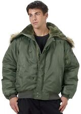 N-2B Green Flight Jacket Parka Heavy Insulated Military Style Flight Coat 7190
