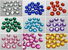 100 Acrylic Round Sewing Flatback Rhinestone 14mm Sew on bead Pick Your Color