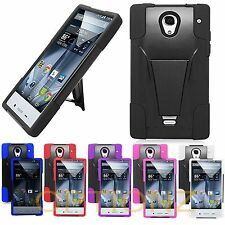 Rugged Hybrid Skin Case Hard Stand Cover For Sharp Aquos Crystal 306SH + Screen