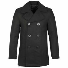 Mens Black Double Breasted Pea Coat Winter Windproof Reefer Jacket Trench Coat