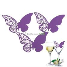 50 Pcs Butterfly Place Escort Wine Glass Paper Card for Wedding Party Bar Club