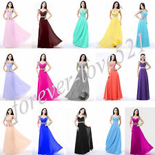 New Long Chiffon Formal Evening Gown Party Prom Bridesmaid Dress Stock Size 6-16