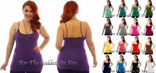 H71 ADJUSTABLE SPAGHETTI CAMI LONG TANK TOP WOMENS PLUS SIZE 1X 2X 3X