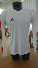 New Adidas Unisex Long Sleeve White/Red Three Stripe Running Jogging Top E85737