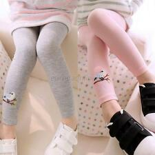 Lovely Baby Kid Girl Cotton Embroidery Bird Warm Stretchy Leggings Trouser New