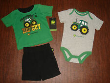 JOHN DEERE Baby Infant Boy Bodysuit Onesie Shirt Shorts 0/3 3/6 6/9 12 Month 3pc